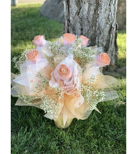 1/2Dozen HK Peach Roses
