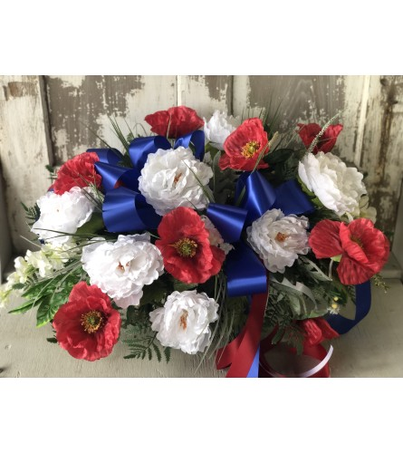 White and Red Spray with Blue Ribbon