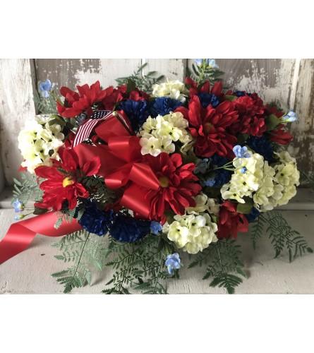 Hydrangea, Carnation and Daisy Memorial Spray