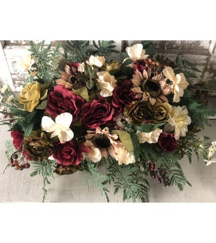 Burgundy Spray with Green and Cream Adornments