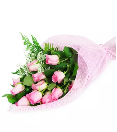 Perfect Wrapped Long-Stemmed Pink Roses 2020