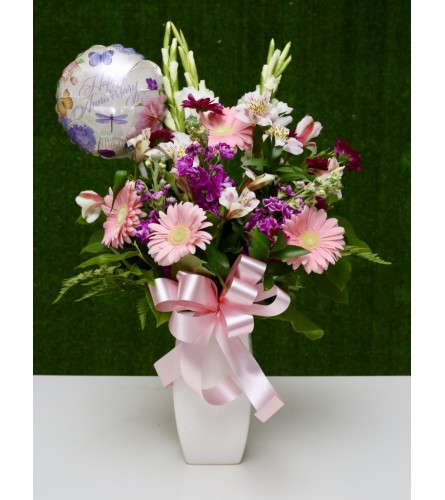 Special Anniversary Floral Bouquet in a Ceramic Vase