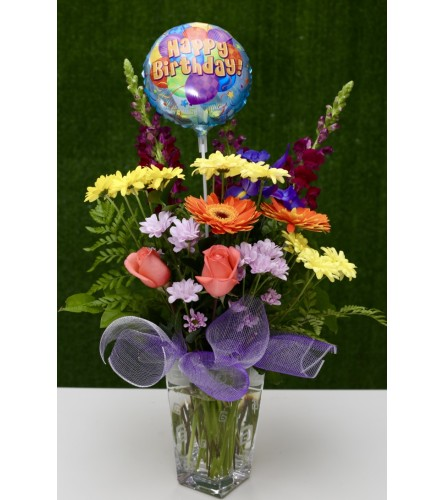 Colourful Birthday Bouquet in Premium Polish Vase