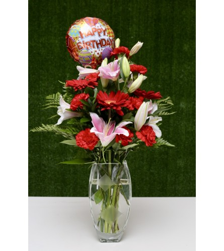 Birthday Delight Floral Design in a Premium Polish Vase