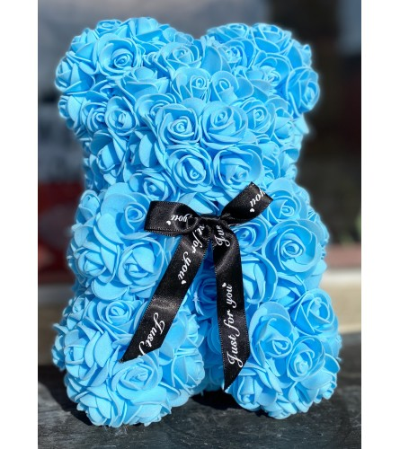 Forever Rose Teddy In Blue