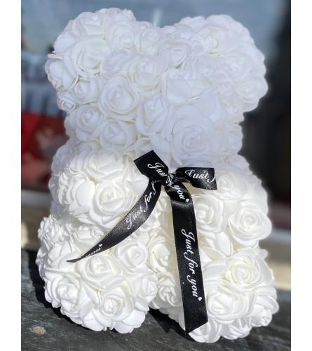Forever Rose Teddy In White