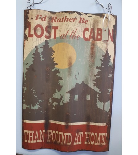 """Lost at the Cabin"" Tin Sign"