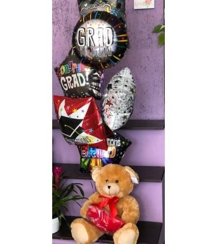 "Congratulation Graduate Balloon Bouquet & 24"" Plush Bear (6)"