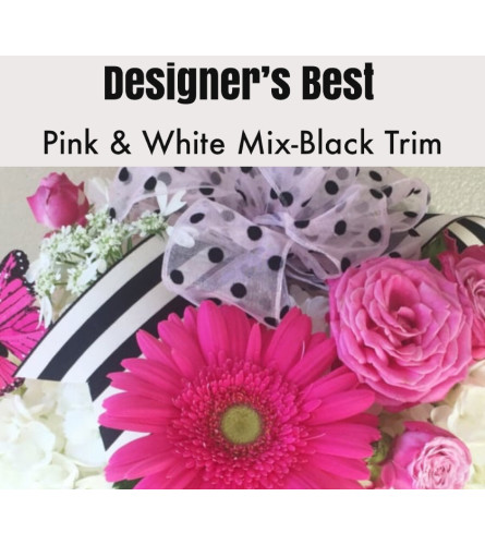 Designer's Best-Pink & White with Black Trim