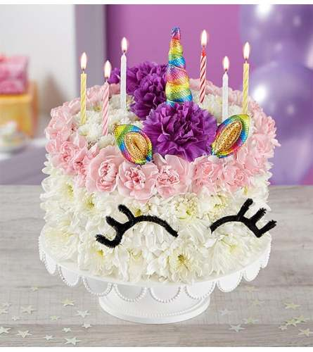 Best Wishes Flower Cake Unicorn