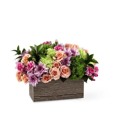 Simple Charm Wooden Box Bouquet