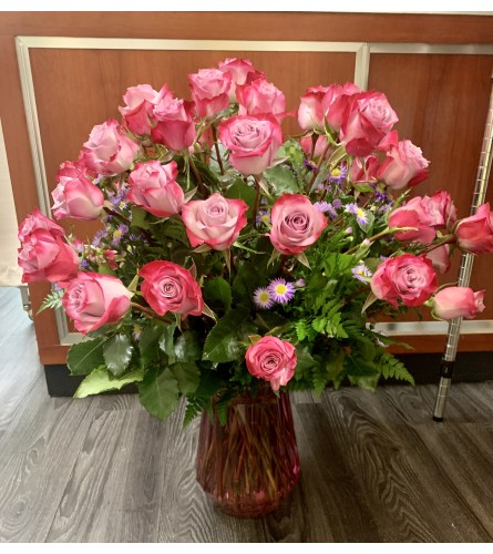 50 Deep Purple Roses Arrangement