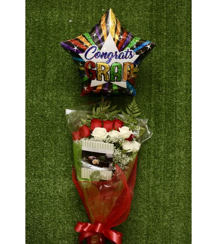 Graduation Rose Bouquet Bundle