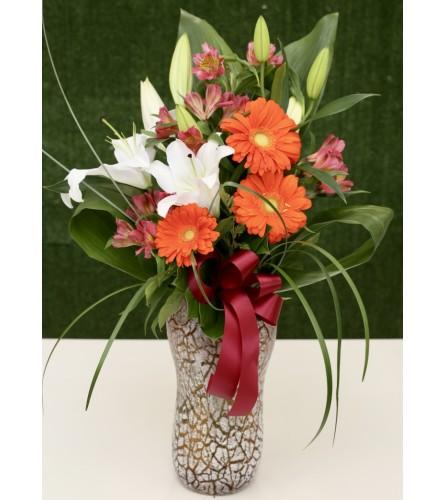 Nature's Charm Floral Arrangement in a Premium Artistic Vase