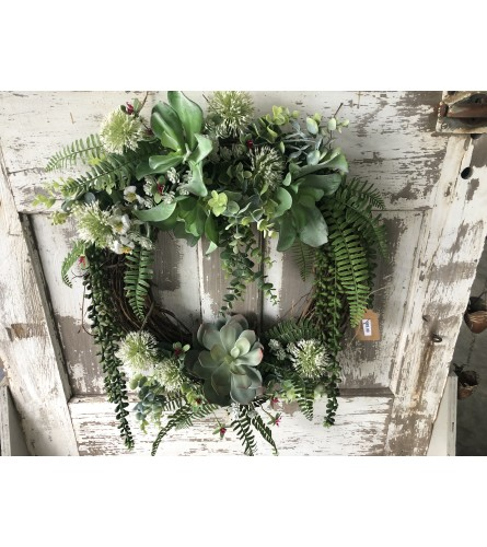 Wreath with Foliage and Succulents