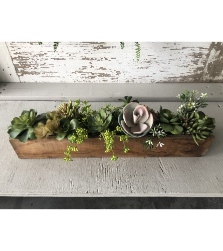 Vintage Box with Silk Succulents