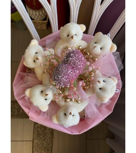 Pink Teddy Bear Round Bouquet