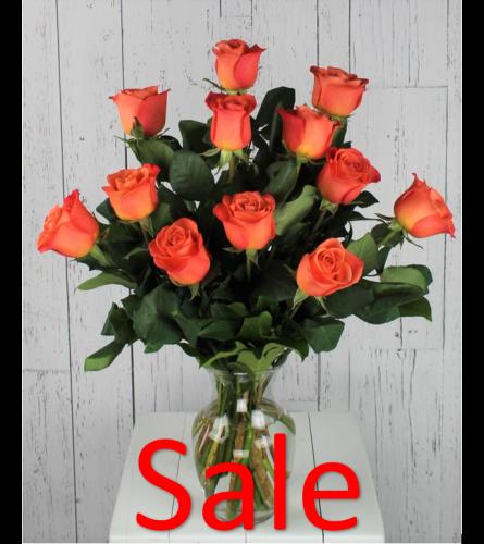 Dozen Orange Rose Bouquet