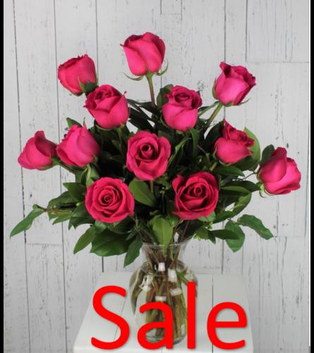 Dozen Hot Pink Rose Bouquet