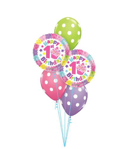 1st Birthday Girl Polka Dots Classic Balloon Bouquet