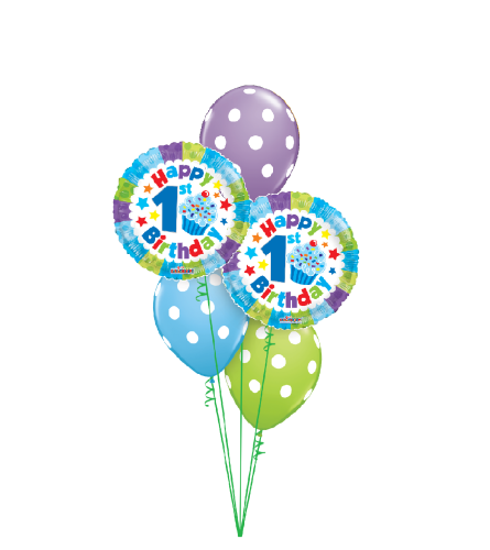 1st Birthday Boy Polka Dots Classic Balloon Bouquet