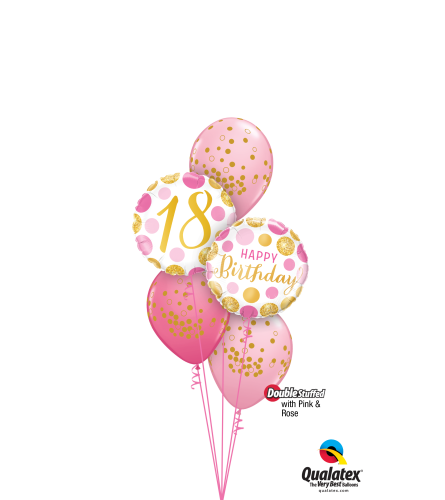 Pink 'N' Gold 18 Classic Confetti Balloon Bouquet