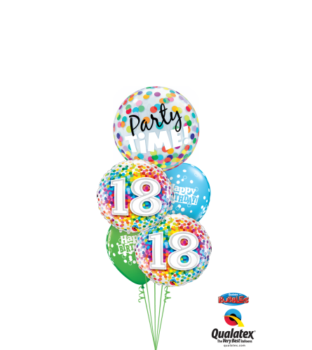 18th Birthday Time Party Time Cheerful Bubble Balloon Bouquet