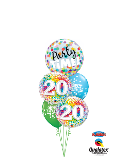 20th Birthday Time Party Time Cheerful Bubble Balloon Bouquet