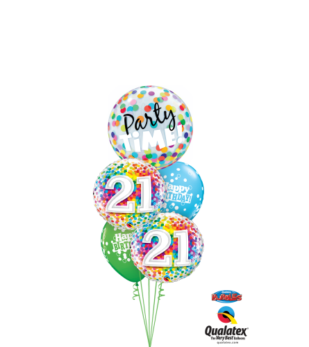 21st Birthday Time Party Time Cheerful Bubble Balloon ouquet