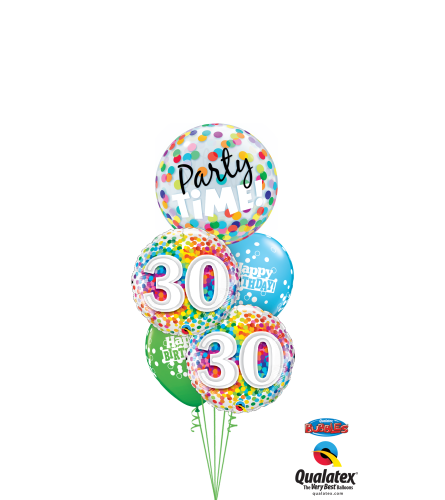 30th Birthday Time Party Time Cheerful Bubble Balloon Bouquet