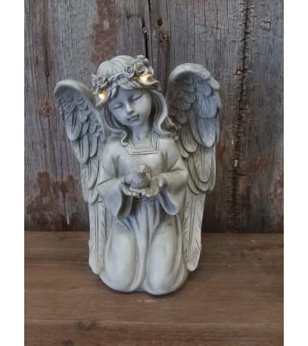 Angel with Bird - Solar Powered