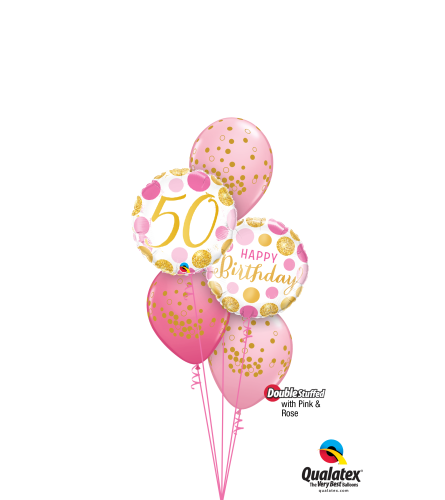 Pink 'N' Gold 50 Classic Confetti Balloon Bouquet