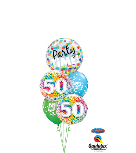 50th Birthday Time Party Time Cheerful Bubble Balloon Bouquet