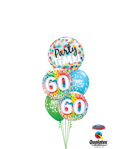 60th Birthday Time Party Time Cheerful Bubble Balloon Bouquet