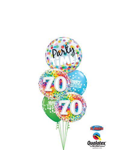 70th Birthday Time Party Time Cheerful Bubble Balloon Bouquet