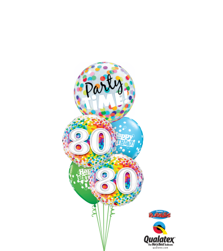 80th Birthday Time Party Time Cheerful Bubble Balloon Bouquet