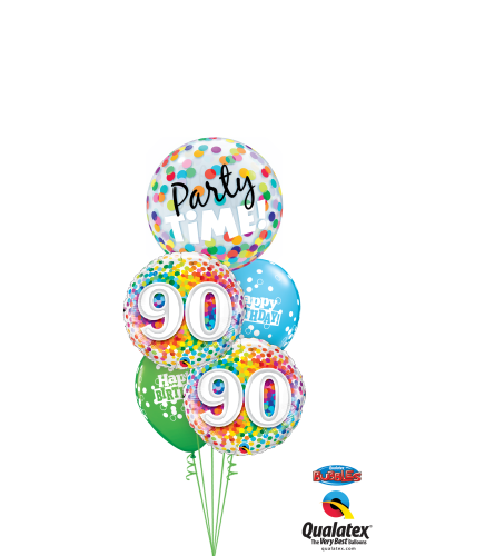 90th Birthday Time Party Time Cheerful Bubble Balloon Bouquet
