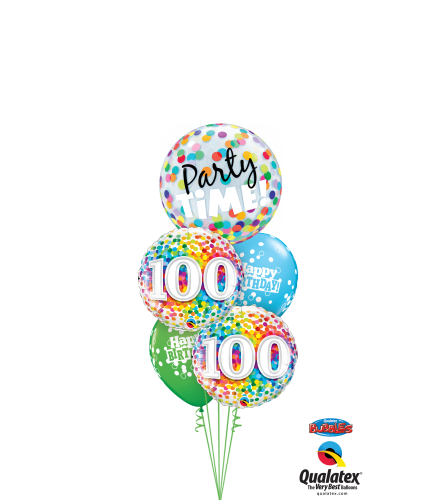 100th Birthday Time Party Time Cheerful Bubble Balloon Bouquet