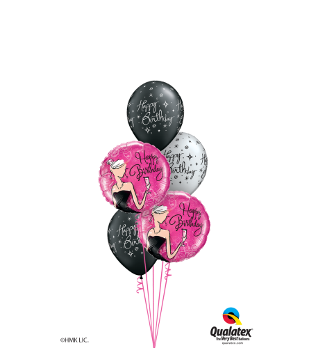 Black & White Birthday Classic Balloon Bouquet