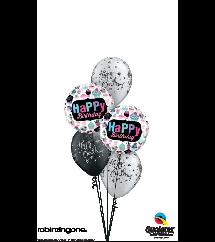 Birthday Cupcakes, Stars & Swirls Classic Balloon Bouquet