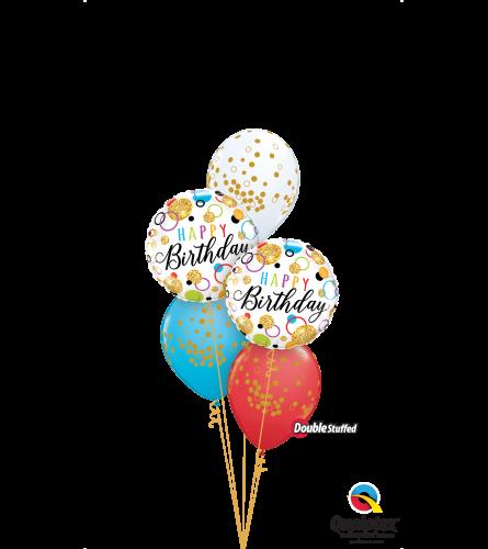 Rainbow Glitter Dots Birthday Classic Confetti Balloon Bouquet