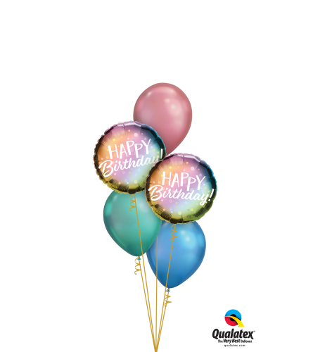 Colourful Chrome Birthday Classic Balloon Bouquet