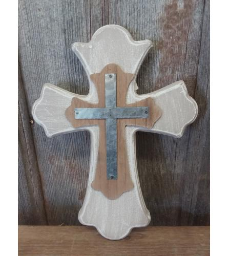 Cross - Whitewash with Metal