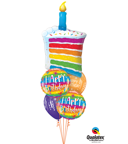 Rainbow Cake Cheerful Balloon Bouquet