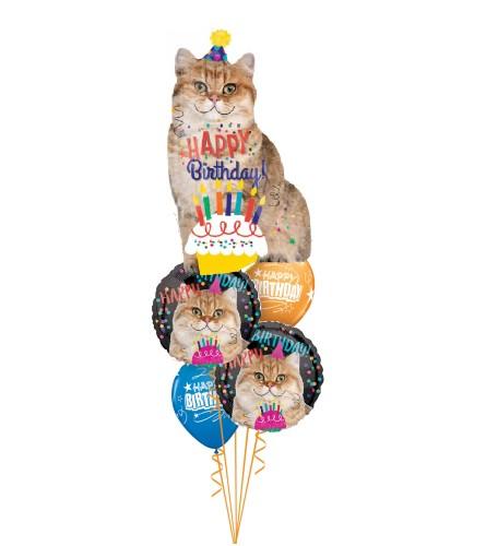 Birthday Cat Cheerful Balloon Bouquet