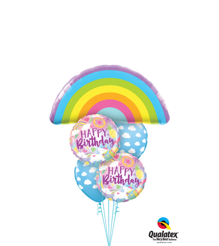 Birthday Rainbows and Unicorns Cheerful Balloon Bouquet