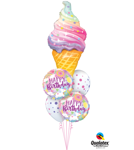 Unicorns and Ice Cream Birthday Cheerful Balloon Bouquet