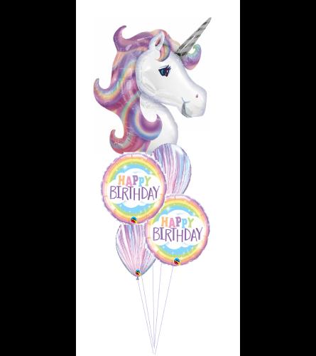 Pastel Unicorn Wishes Cheerful Balloon Bouquet