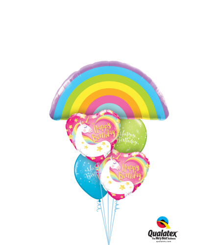 Rainbows and Unicorns Birthday Cheerful Balloon Bouquet