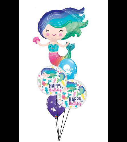 Magical Mermaid Birthday Cheerful Balloon Bouquet